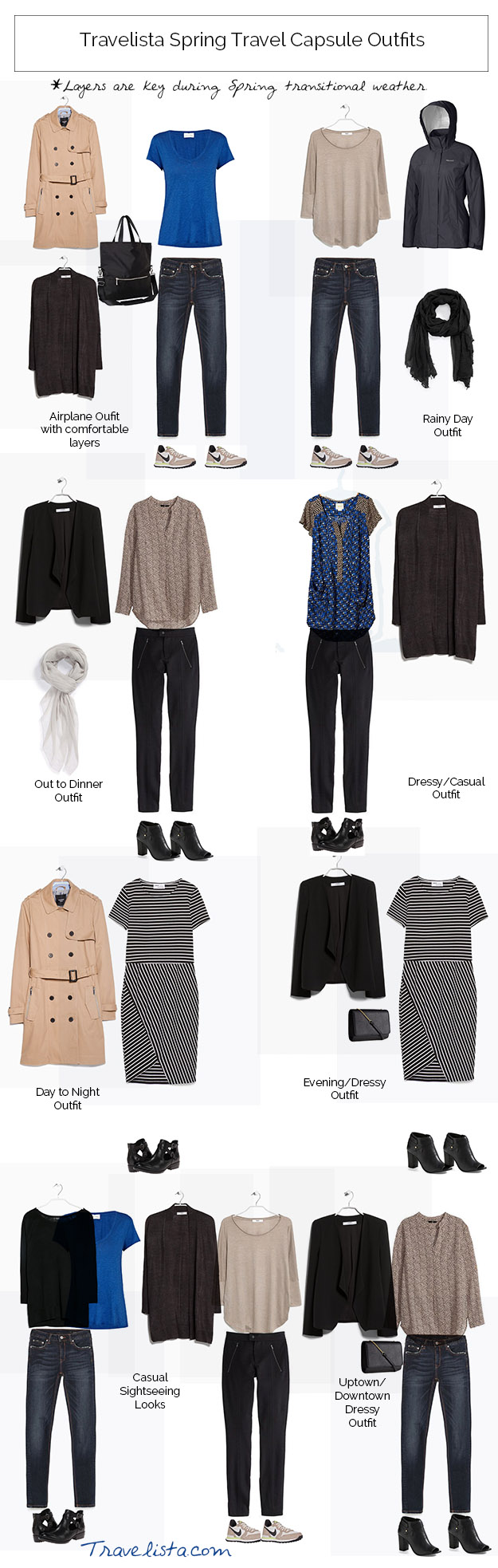 SPRING TRAVEL CAPSULE OUTFITS
